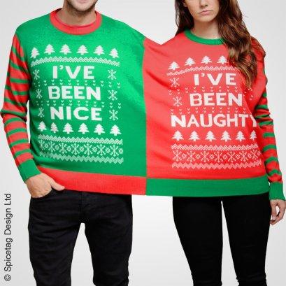double_christmas_crimbo_xmas_festive_twin_naughty_nice_jumper_sweater_sweatshirt_pullover_knitted_santa_rudolph_present